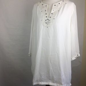 Vintage White Beaded 1X Tunic